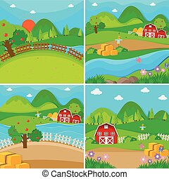 蘋果, 穀倉, 農場場景, 樹, 四
