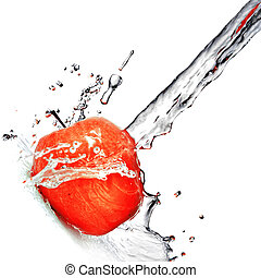 蘋果, 被隔离, 水, 飛濺, 新鮮, 白色紅
