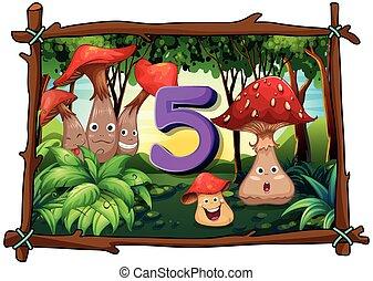 蘑菇, 五, 5, 數字, 森林