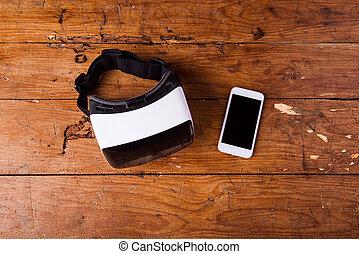 虛擬現實, 風鏡, 以及, 聰明, 電話, 上, 木製的桌子