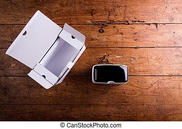 虛擬現實, 風鏡, 由于, 紙盒, 上, 木製的桌子