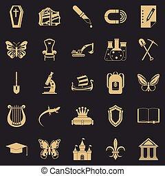 虫歯, セット, スタイル, 単純なアイコン