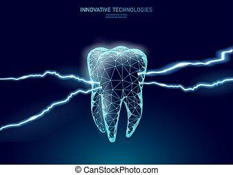 虫歯, レーザー, 慢性, 助け, 革新, 療法, pain., ベクトル, 口頭である, template.,...