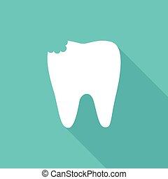 虫歯, 平ら, イメージ, 歯