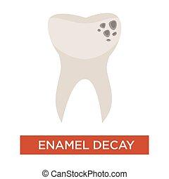 虫歯, 歯痛, 傷つけられる, エナメル, 病気, アイコン, 隔離された