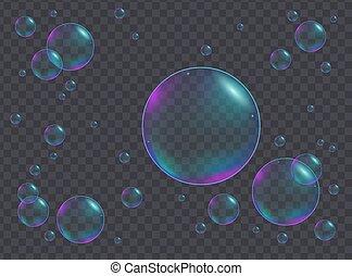 虹色, 現実的, 大きさ, 泡, 別