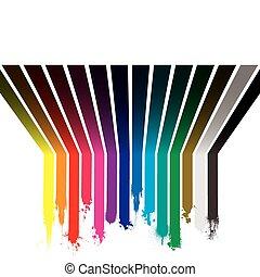 虹, したたり, ペンキ
