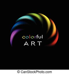 虹, カラフルである, 抽象的, 黒い背景, ロゴ