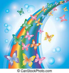 虹, カラフルなライト, 蝶, 背景, 飾られる, 泡