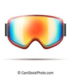 虹, クラシック, 大きいガラス, ゴーグル, snowboarding