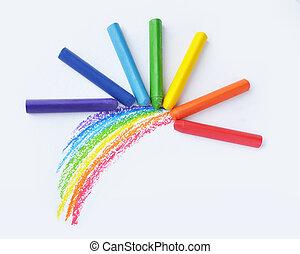 虹, クレヨン, カラフルである