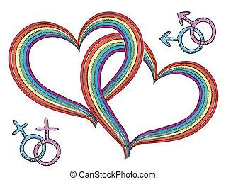 虹, ゲイである, 隔離された, symbols.vector, 心, 白