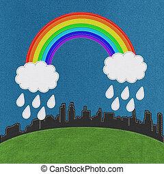 虹, スタイル, ステッチ, 背景, 風景, 生地