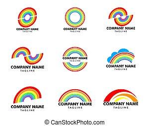 虹, セット, ベクトル, デザイン, テンプレート, ロゴ