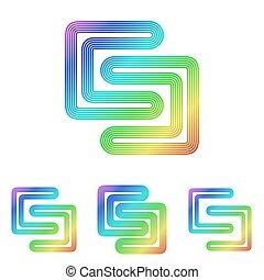 虹, セット, 科学, デザイン, ロゴ, 線