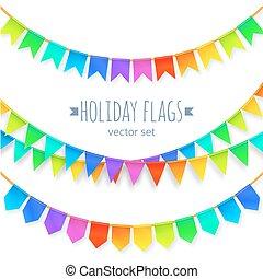 虹, セット, 鮮やか, 隔離された, 色, 旗, 背景, 花輪, 白