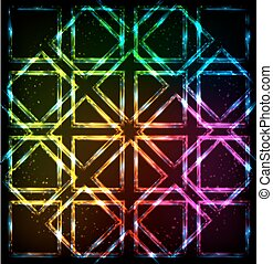 虹, ネオンライト, 背景, 正方形, 照ること