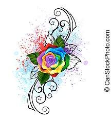 虹, パターン装飾された, バラ