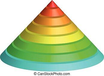 虹, ピラミッド, 層にされる, スペクトル, イラスト, 多彩, ベクトル, cone., 8, layers., 円錐, 3d