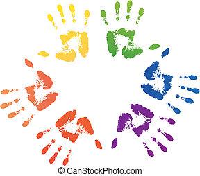 虹, プリント, ord, カラフルである, 手