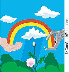 虹, ロボット, 人間の術中