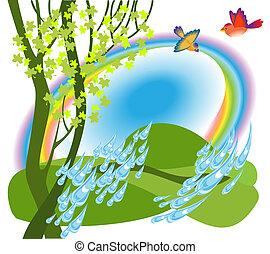 虹, 上に, 牧草地