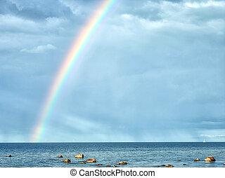 虹, 中に, 曇った空, 後で, ∥, 雨
