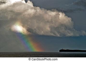 虹, 中に, 雲, 上に, ∥, 海