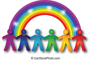 虹, 人々, チームワーク, ロゴ