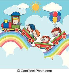 虹, 列車, 道, 子供