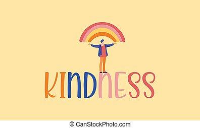 虹, 助け, illustration., 理解, greeting., 種類, 甘い, 相互, 愛, 親切, 日, 特徴