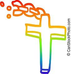 虹, 勾配, 交差点, 銀, 線画, 漫画