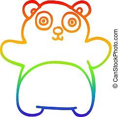 虹, 勾配, 漫画, パンダ, 線画, 幸せ