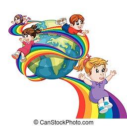 虹, 子供, 空, 滑っている