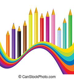 虹, 学校, 背中, 背景