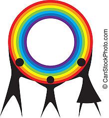 虹, 家族, 保有物, あなたの, hands., 幸せ