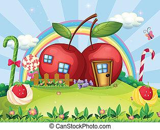 虹, 家, 丘の上, アップル, 2