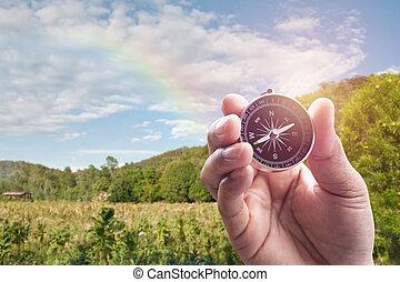 虹, 山, ぼやけ, 手, 背景, コンパス, 光景