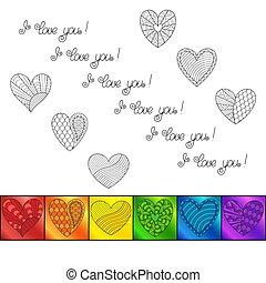 """虹, 愛, カラフルである, 碑文, you"""", """"i, バックグラウンド。, テンプレート, 心, 白, 正方形"""