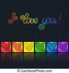 """虹, 愛, 碑文, 星が多い, """"i, you"""", 暗い, バックグラウンド。, カリグラフィー"""