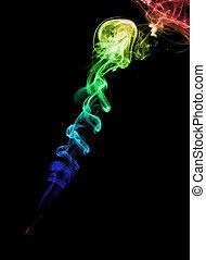 虹, 抽象的, カラフルである, 煙