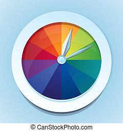 虹, 抽象的, -, 腕時計, ベクトル, アイコン