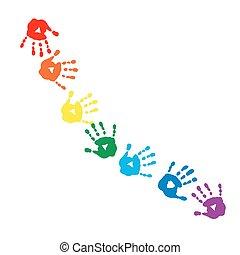 虹, 抽象的, 色, handprints, パターン