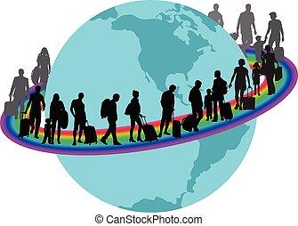 虹, 旅行者, -, のまわり, 地球, migrantson