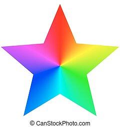 虹, 星, テンプレート, デザイン, 隔離された, 勾配