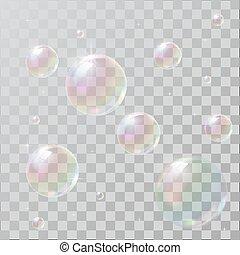 虹, 泡, 石鹸, 反射, 現実的