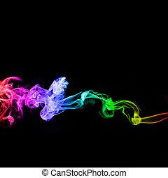 虹, 煙, 背景