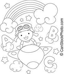 虹, 男の子, 色, 飛行機, ページ, 子供