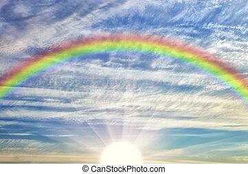 虹, 空, 曇り