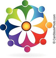 虹, 花, ビジネス 人々, チームワーク, ロゴ